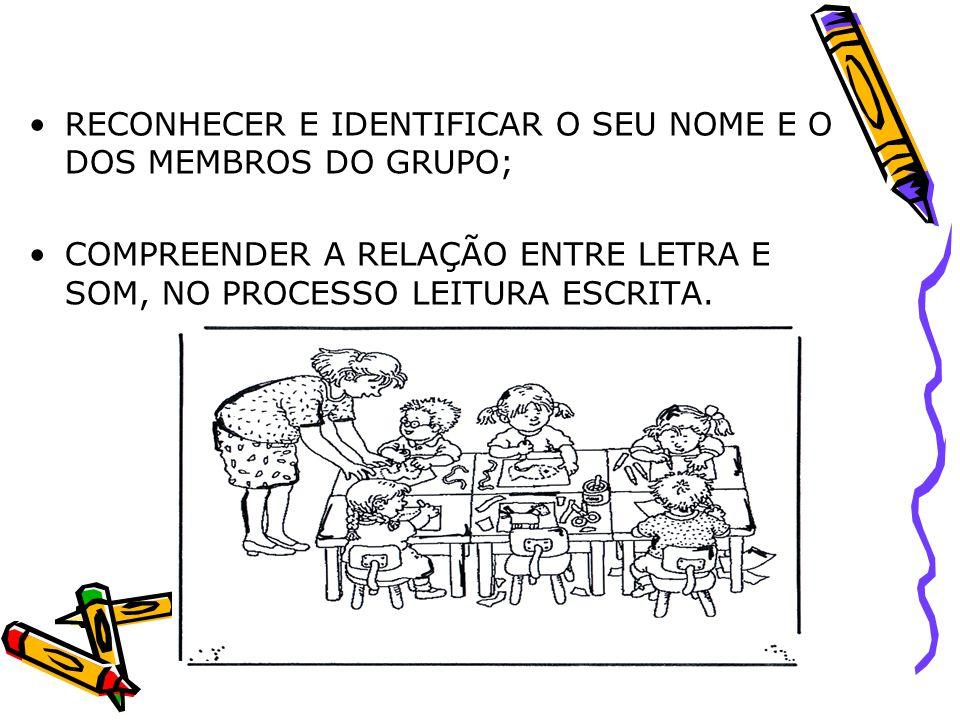 RECONHECER E IDENTIFICAR O SEU NOME E O DOS MEMBROS DO GRUPO;