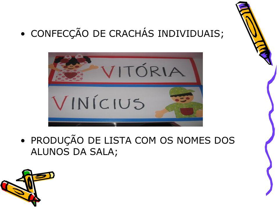 CONFECÇÃO DE CRACHÁS INDIVIDUAIS;