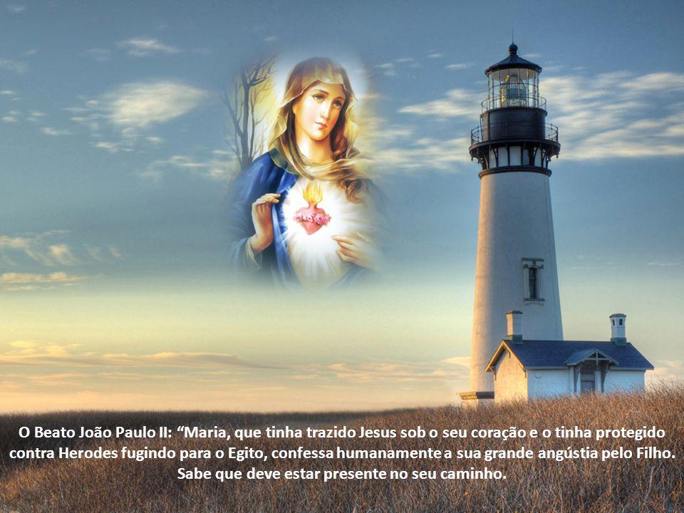 O Beato João Paulo II: Maria, que tinha trazido Jesus sob o seu coração e o tinha protegido contra Herodes fugindo para o Egito, confessa humanamente a sua grande angústia pelo Filho.