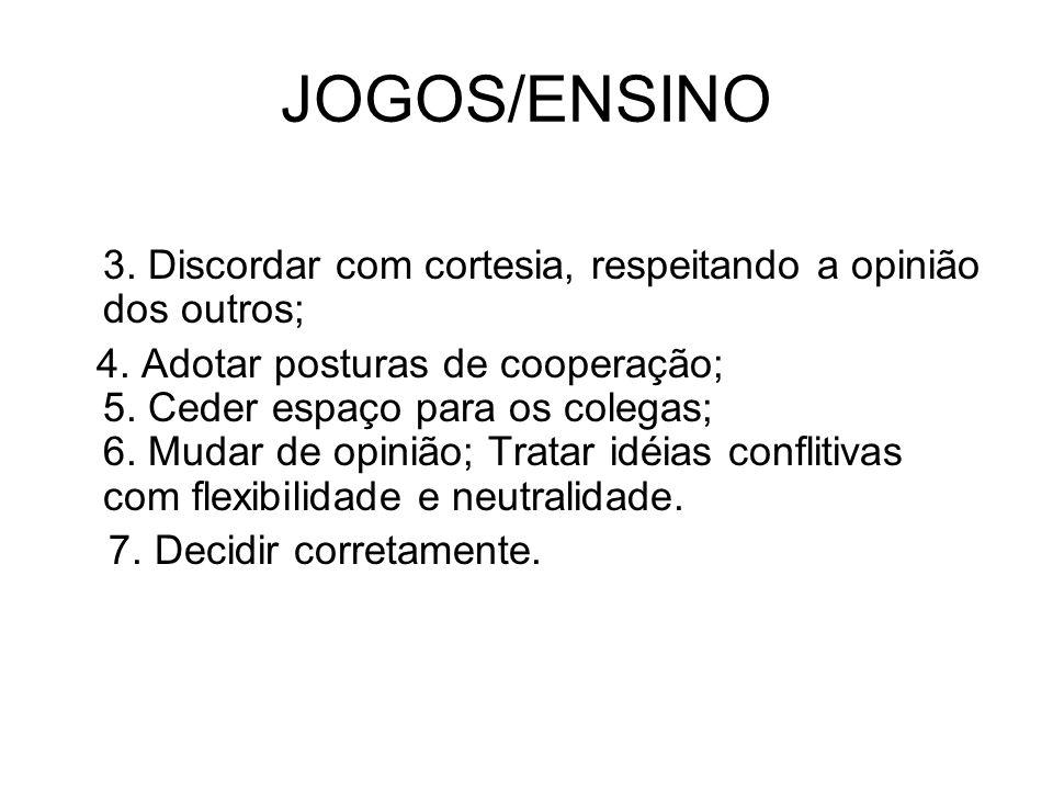 JOGOS/ENSINO 3. Discordar com cortesia, respeitando a opinião dos outros;