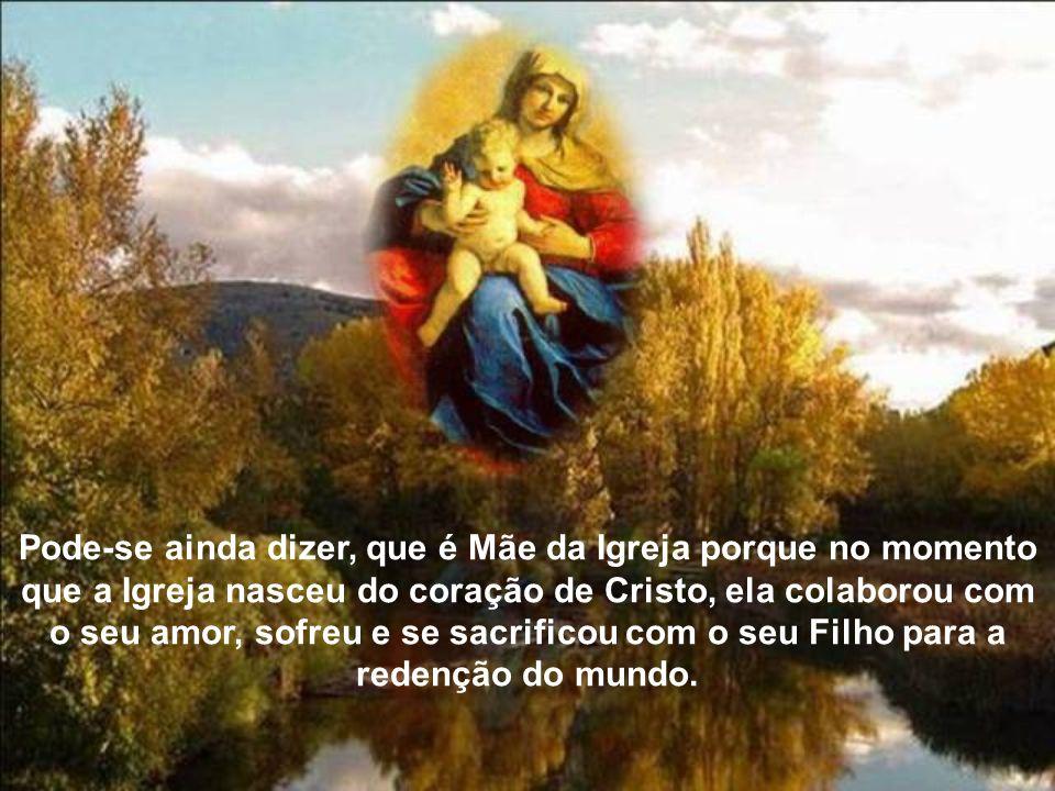 Pode-se ainda dizer, que é Mãe da Igreja porque no momento que a Igreja nasceu do coração de Cristo, ela colaborou com o seu amor, sofreu e se sacrificou com o seu Filho para a redenção do mundo.