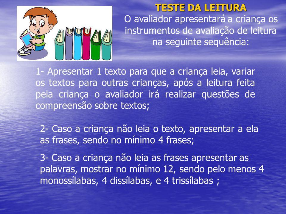 TESTE DA LEITURA O avaliador apresentará a criança os instrumentos de avaliação de leitura na seguinte sequência: