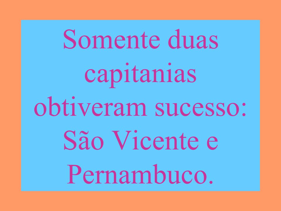 Somente duas capitanias obtiveram sucesso: São Vicente e Pernambuco.