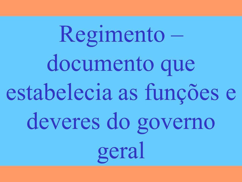 Regimento – documento que estabelecia as funções e deveres do governo geral