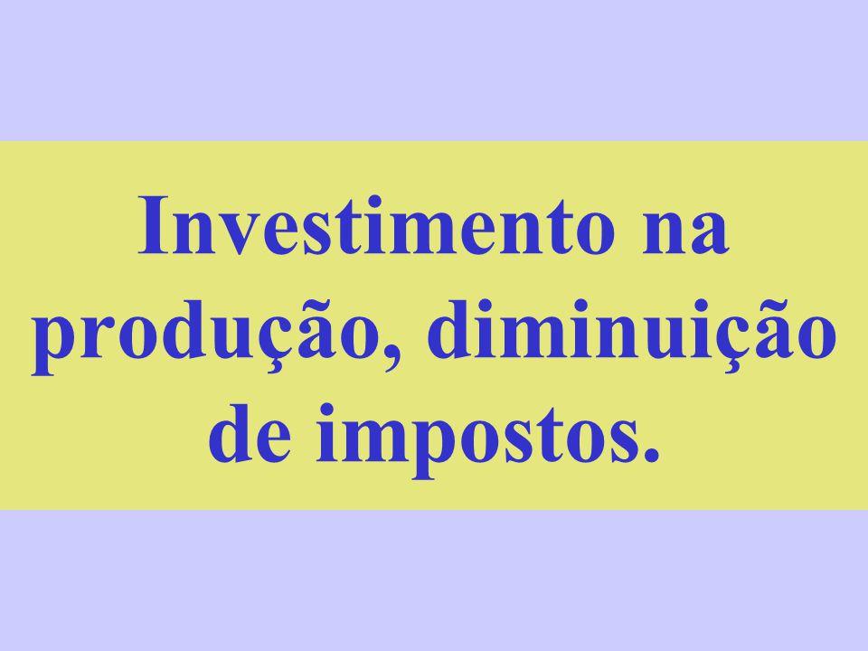 Investimento na produção, diminuição de impostos.