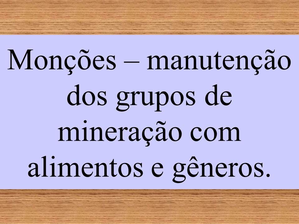 Monções – manutenção dos grupos de mineração com alimentos e gêneros.
