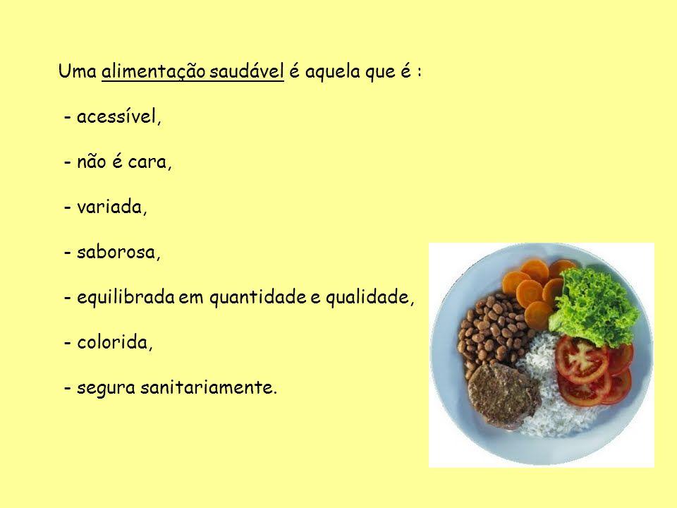 Uma alimentação saudável é aquela que é : - acessível, - não é cara, - variada, - saborosa, - equilibrada em quantidade e qualidade, - colorida, - segura sanitariamente.
