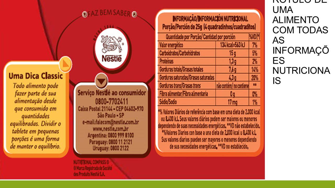 Faça uma análise desse rótulo de uma alimento com todas as informações nutricionais