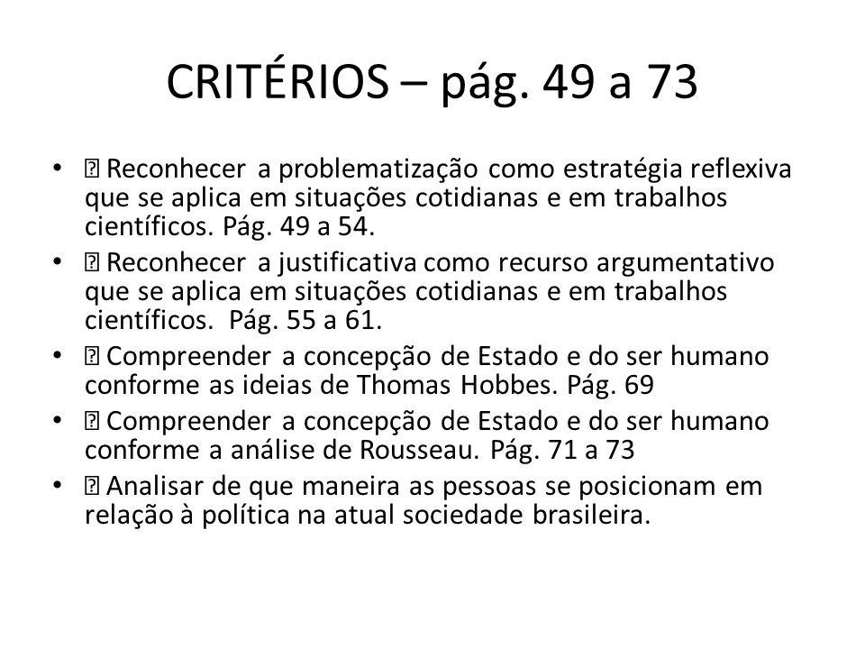CRITÉRIOS – pág. 49 a 73