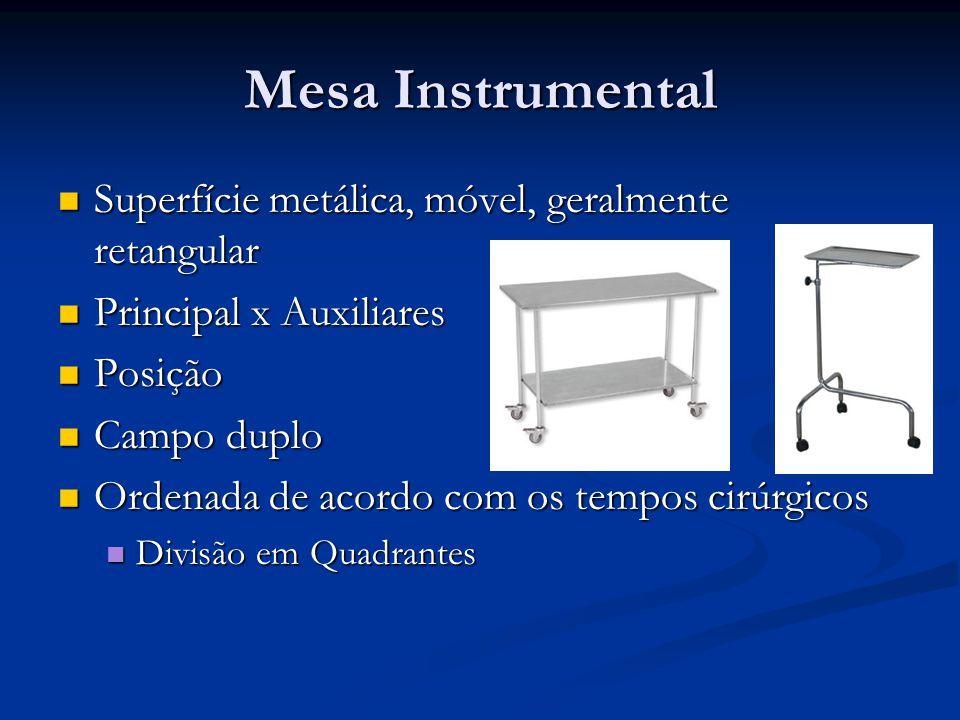 Mesa Instrumental Superfície metálica, móvel, geralmente retangular