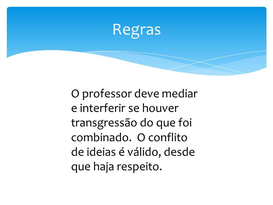 Regras O professor deve mediar e interferir se houver transgressão do que foi combinado.