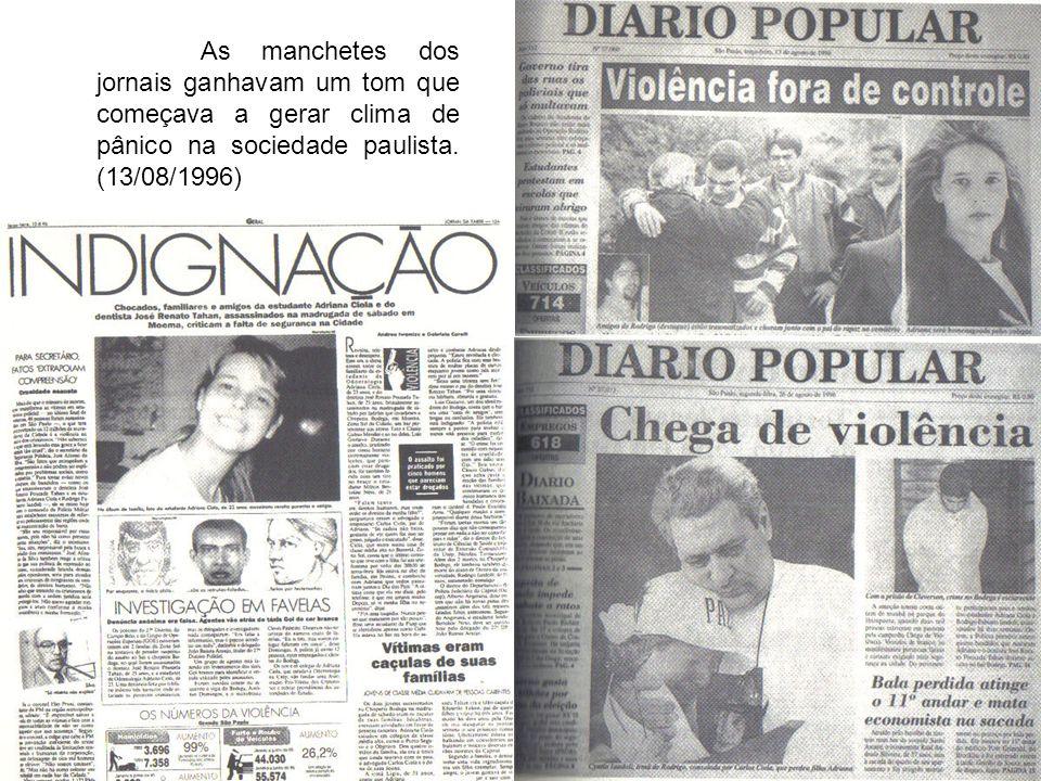 As manchetes dos jornais ganhavam um tom que começava a gerar clima de pânico na sociedade paulista.