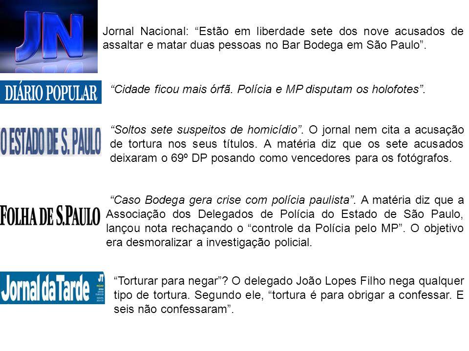 Jornal Nacional: Estão em liberdade sete dos nove acusados de assaltar e matar duas pessoas no Bar Bodega em São Paulo .