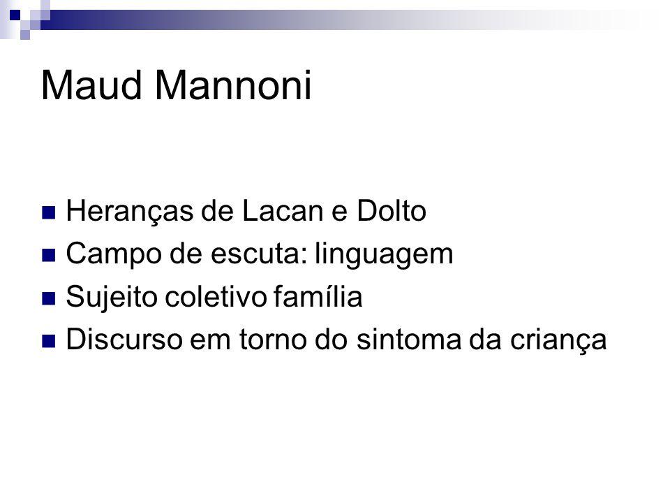 Maud Mannoni Heranças de Lacan e Dolto Campo de escuta: linguagem