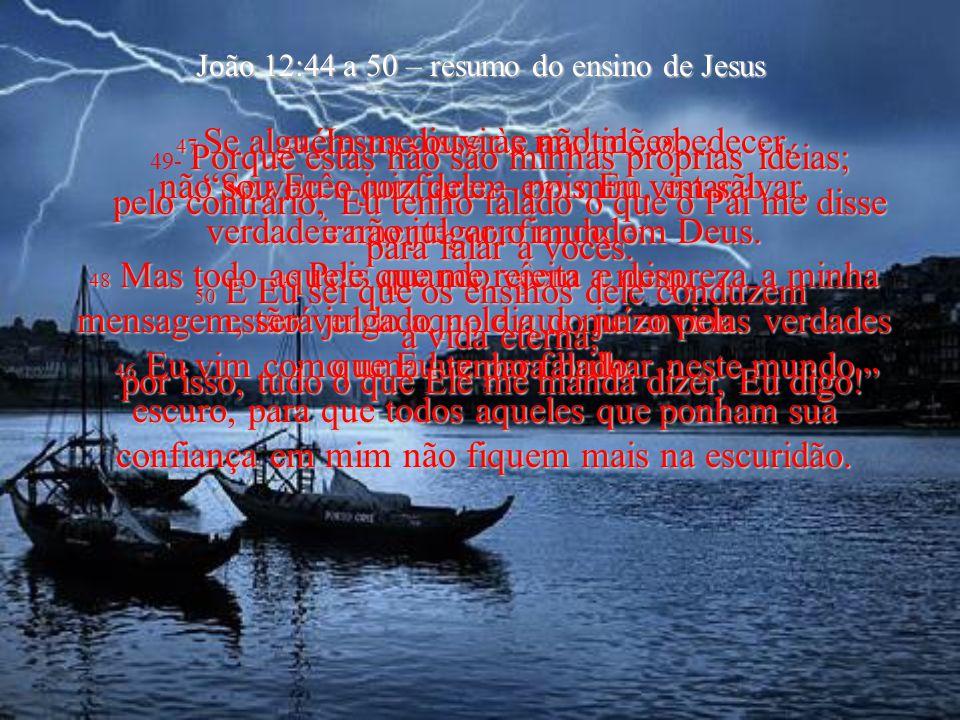 João 12:44 a 50 – resumo do ensino de Jesus