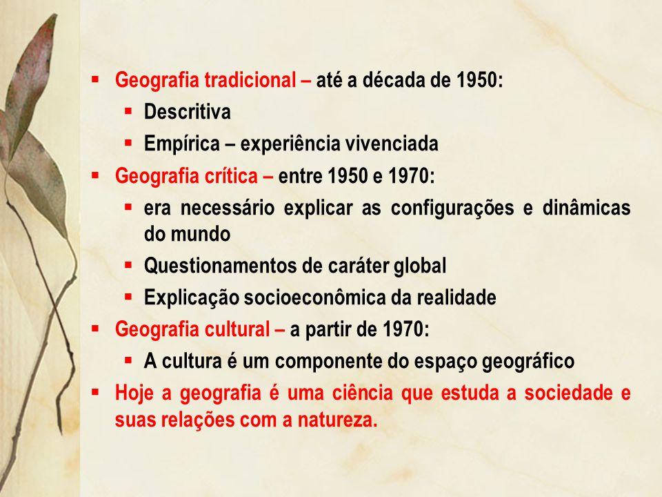 Geografia tradicional – até a década de 1950: