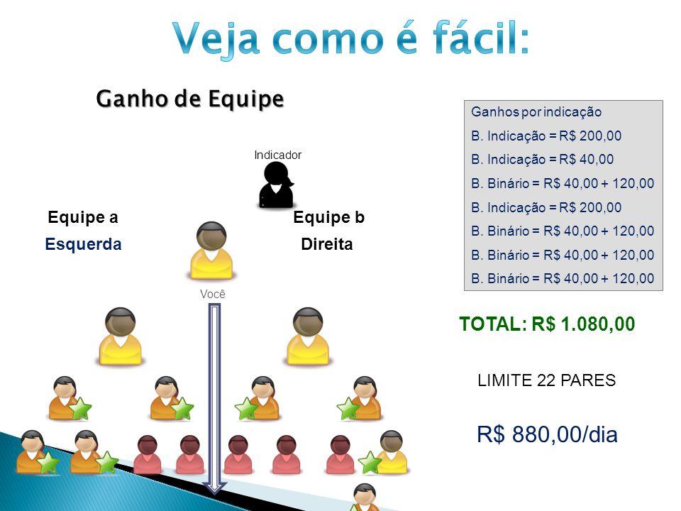 Veja como é fácil: Ganho de Equipe R$ 880,00/dia TOTAL: R$ 1.080,00
