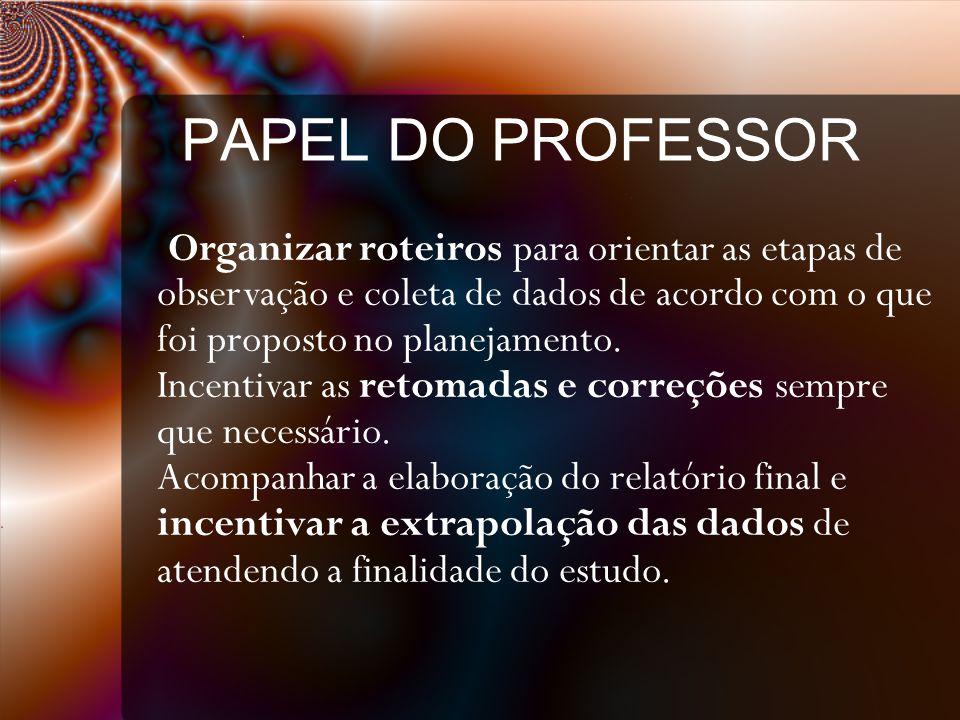PAPEL DO PROFESSOR Organizar roteiros para orientar as etapas de observação e coleta de dados de acordo com o que foi proposto no planejamento.