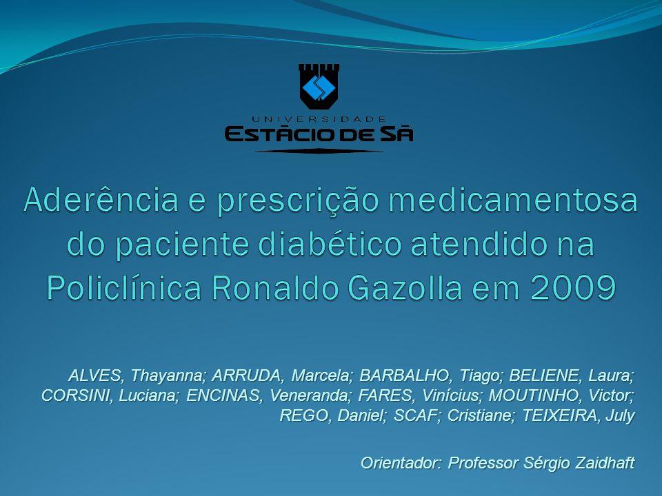 Aderência e prescrição medicamentosa do paciente diabético atendido na Policlínica Ronaldo Gazolla em 2009
