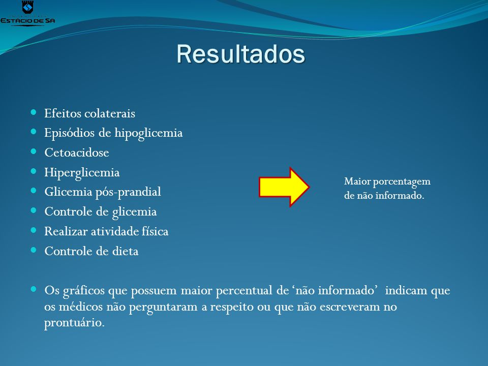 Resultados Efeitos colaterais Episódios de hipoglicemia Cetoacidose