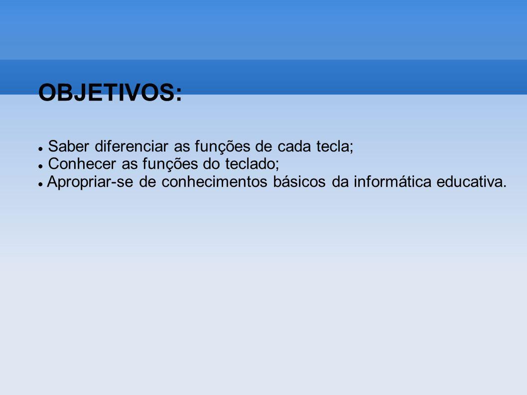 OBJETIVOS: Saber diferenciar as funções de cada tecla;