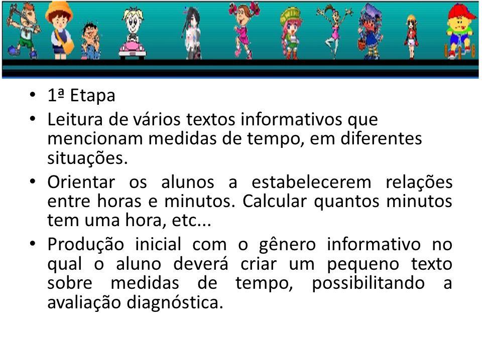 1ª Etapa Leitura de vários textos informativos que mencionam medidas de tempo, em diferentes situações.