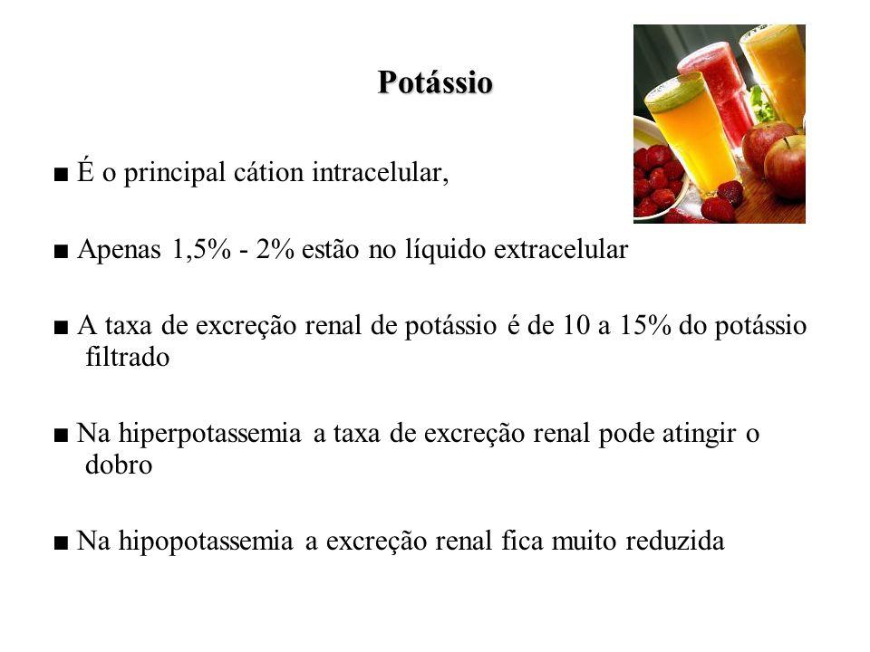 Potássio ■ É o principal cátion intracelular,