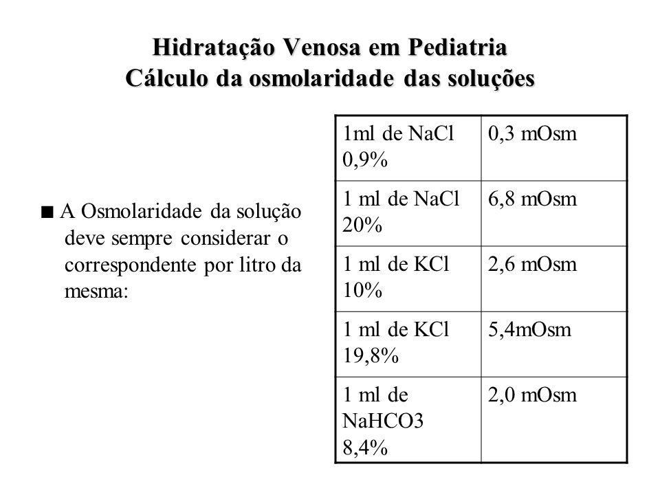 Hidratação Venosa em Pediatria Cálculo da osmolaridade das soluções