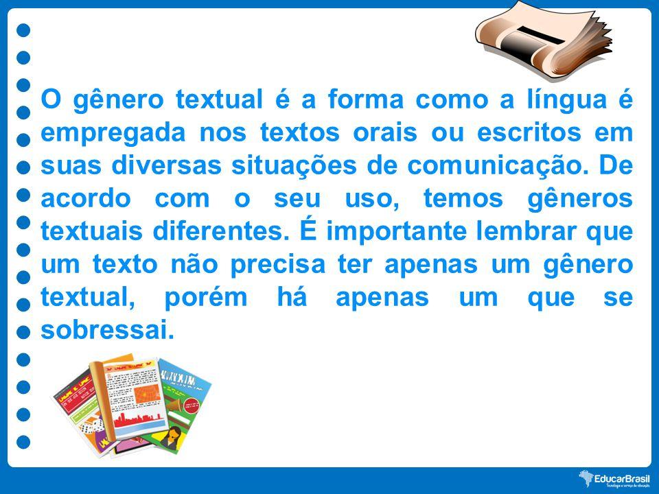 O gênero textual é a forma como a língua é empregada nos textos orais ou escritos em suas diversas situações de comunicação.