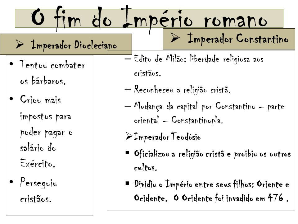 Imperador Constantino Imperador Diocleciano