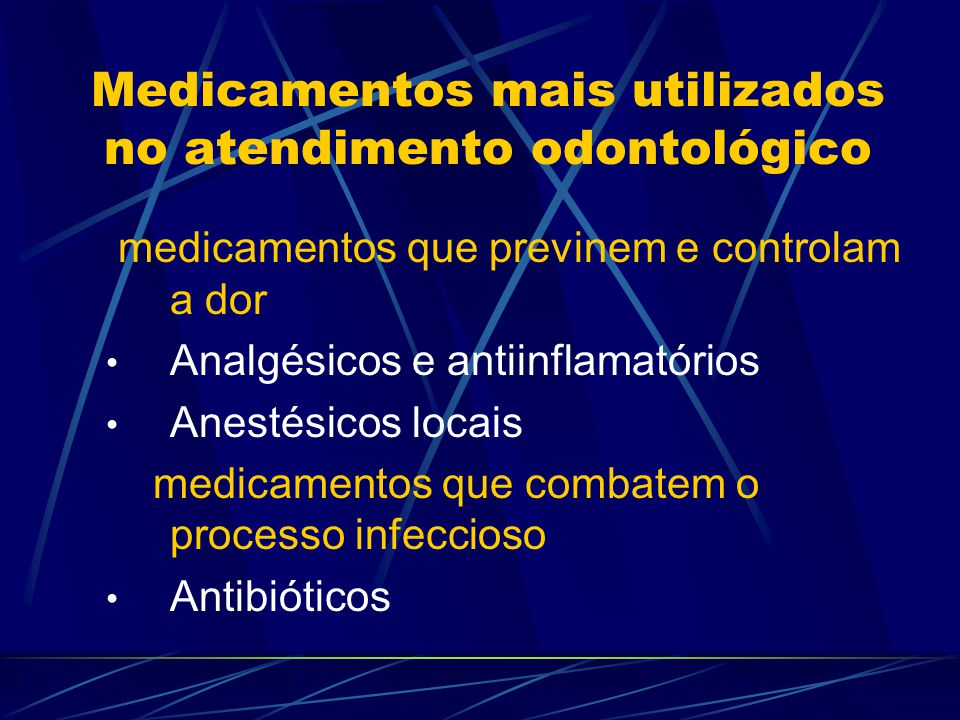 Medicamentos mais utilizados no atendimento odontológico