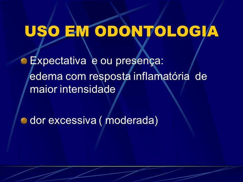 USO EM ODONTOLOGIA Expectativa e ou presença: