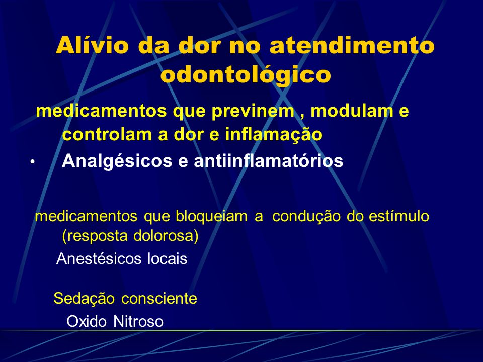 Alívio da dor no atendimento odontológico