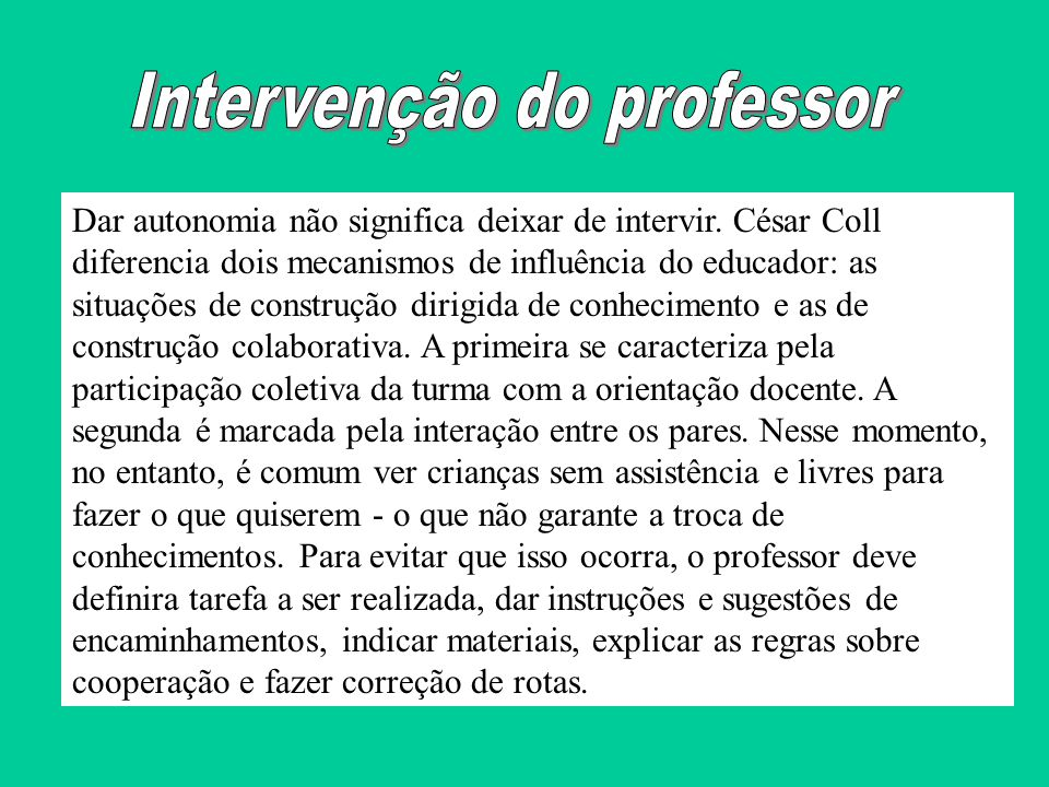 Intervenção do professor