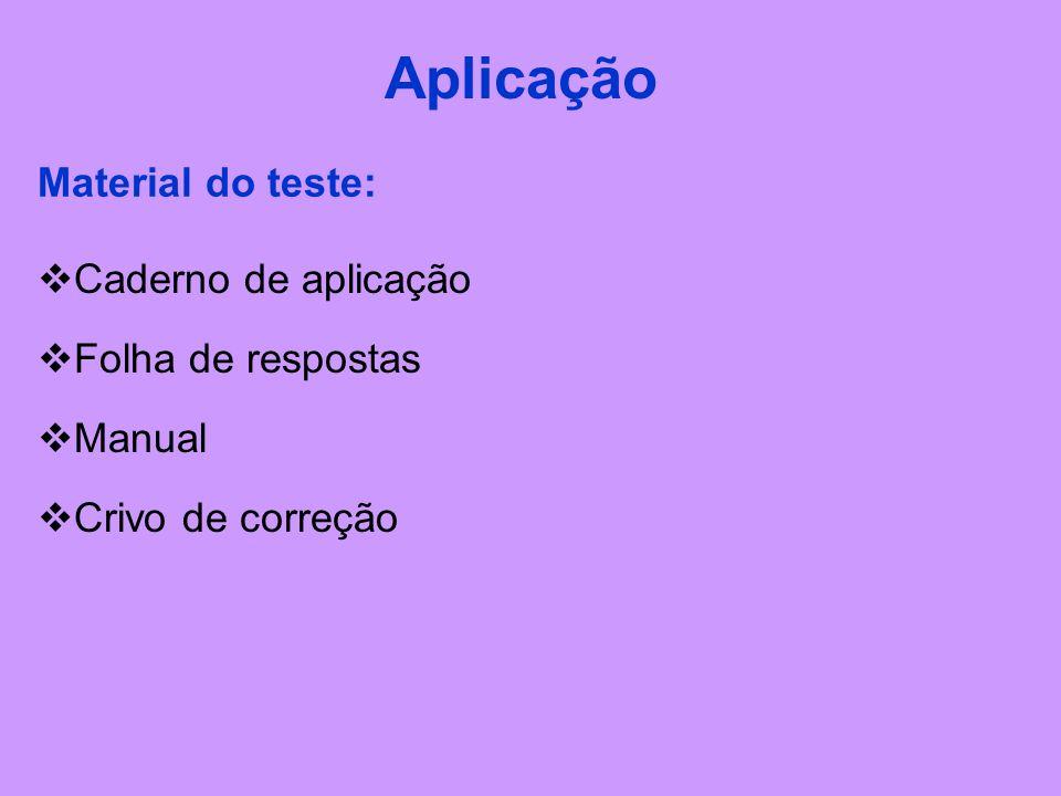 Aplicação Material do teste: Caderno de aplicação Folha de respostas