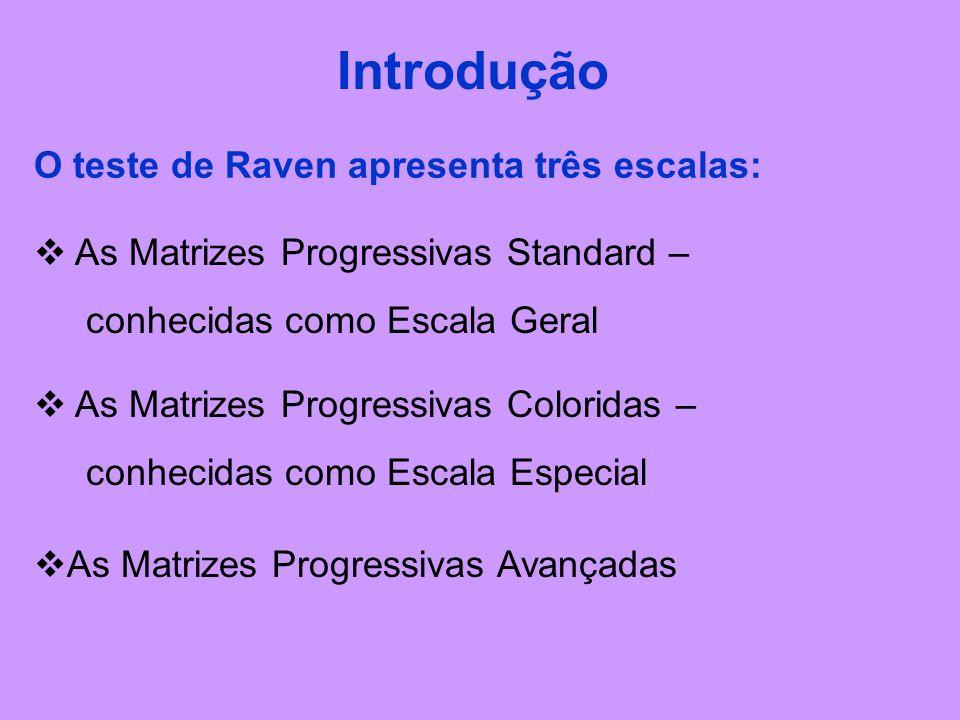 O teste de Raven apresenta três escalas: