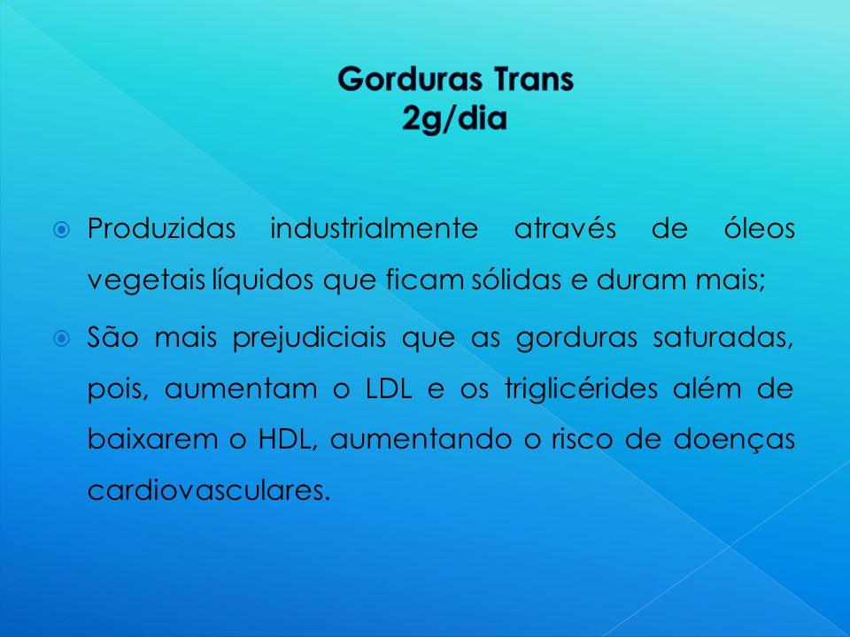 Gorduras Trans 2g/dia Produzidas industrialmente através de óleos vegetais líquidos que ficam sólidas e duram mais;