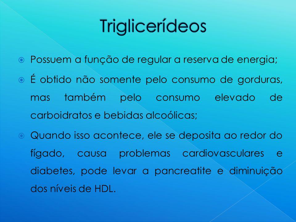 Triglicerídeos Possuem a função de regular a reserva de energia;