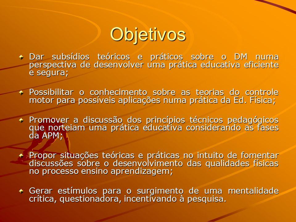 Objetivos Dar subsídios teóricos e práticos sobre o DM numa perspectiva de desenvolver uma prática educativa eficiente e segura;