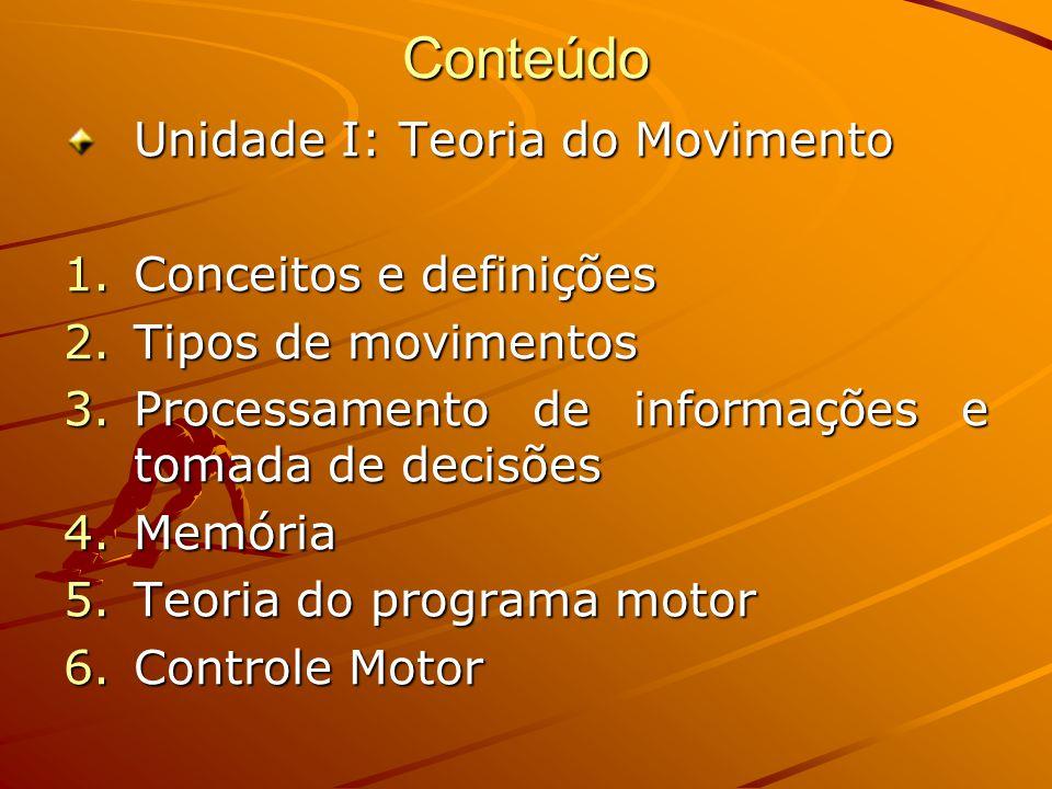Conteúdo Unidade I: Teoria do Movimento Conceitos e definições
