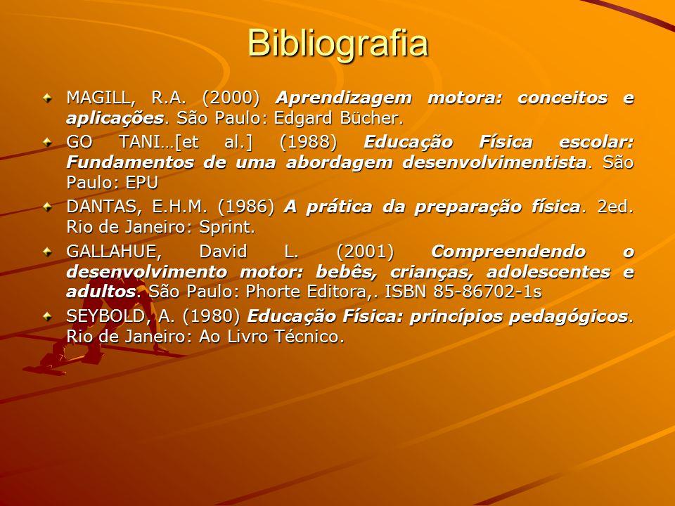 Bibliografia MAGILL, R.A. (2000) Aprendizagem motora: conceitos e aplicações. São Paulo: Edgard Bücher.