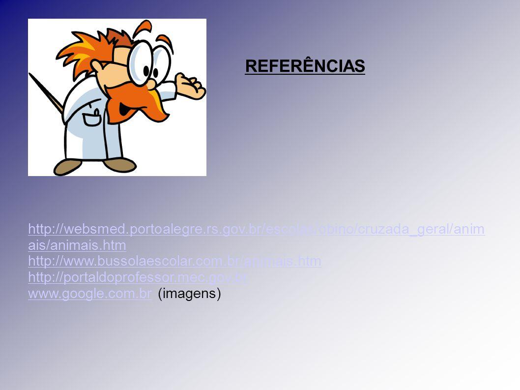 REFERÊNCIAS http://websmed.portoalegre.rs.gov.br/escolas/obino/cruzada_geral/animais/animais.htm. http://www.bussolaescolar.com.br/animais.htm.