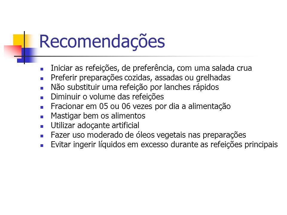 Recomendações Iniciar as refeições, de preferência, com uma salada crua. Preferir preparações cozidas, assadas ou grelhadas.