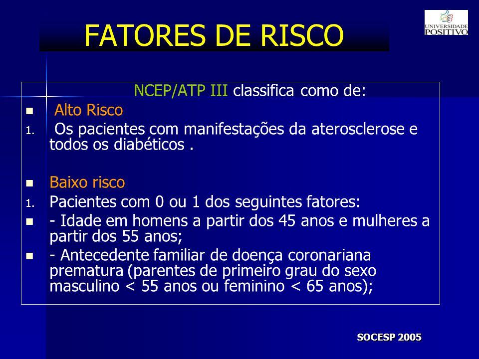 FATORES DE RISCO Alto Risco