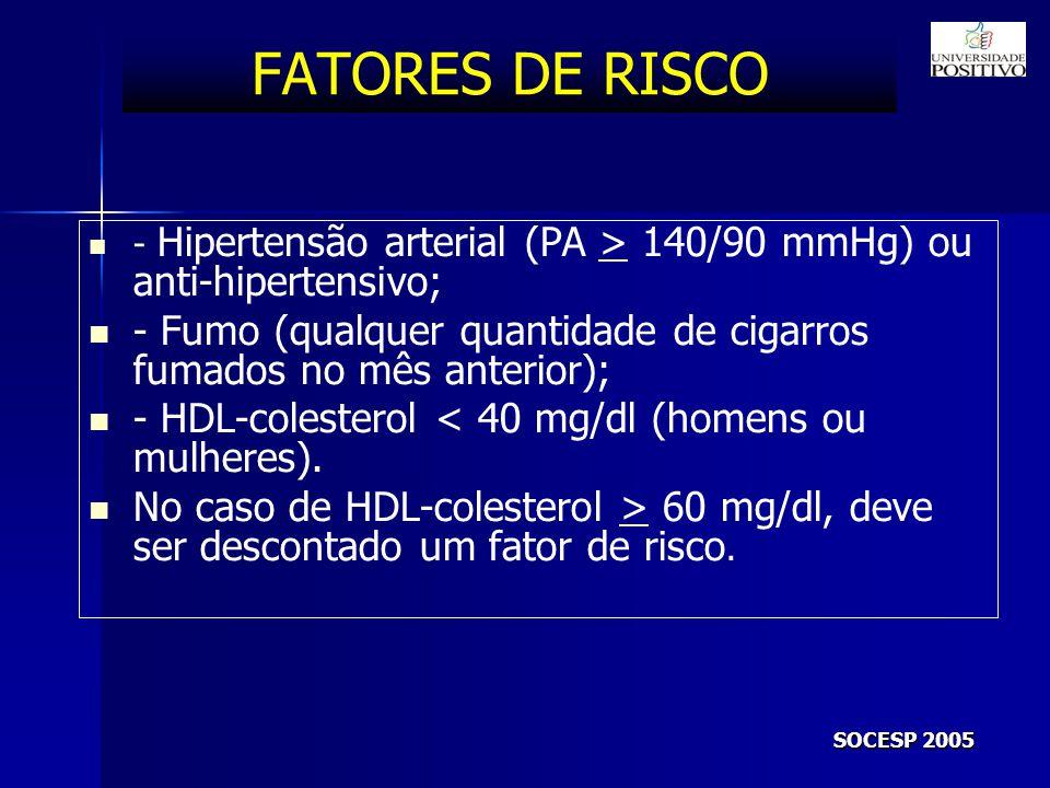 FATORES DE RISCO - Hipertensão arterial (PA > 140/90 mmHg) ou anti-hipertensivo; - Fumo (qualquer quantidade de cigarros fumados no mês anterior);