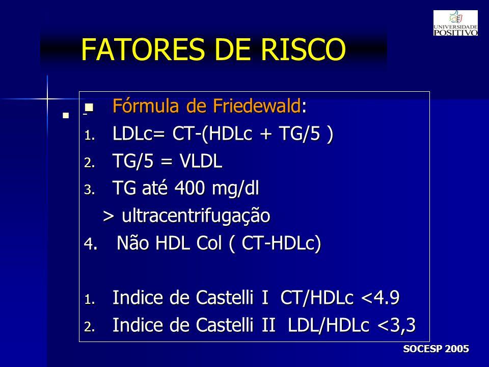 FATORES DE RISCO Fórmula de Friedewald: LDLc= CT-(HDLc + TG/5 )