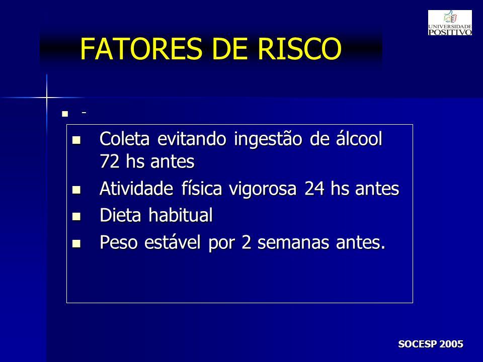 FATORES DE RISCO Coleta evitando ingestão de álcool 72 hs antes