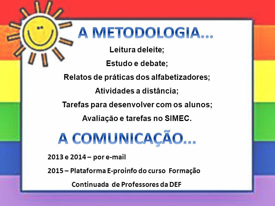 A METODOLOGIA... A COMUNICAÇÃO...