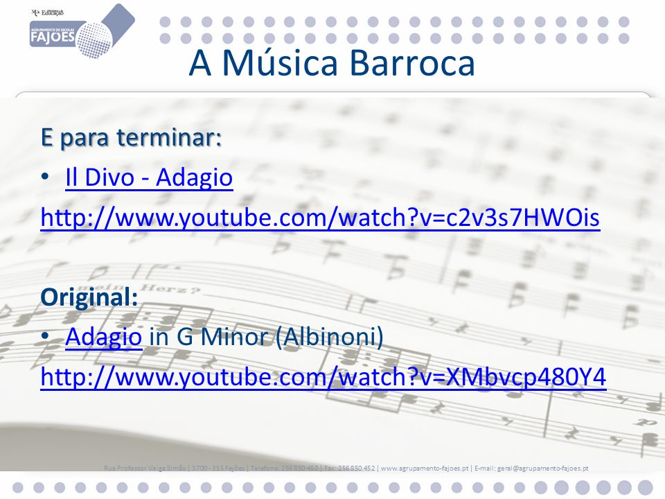 Hist ria e geografia de portugal 6 ano a m sica barroca ppt carregar - Youtube il divo adagio ...