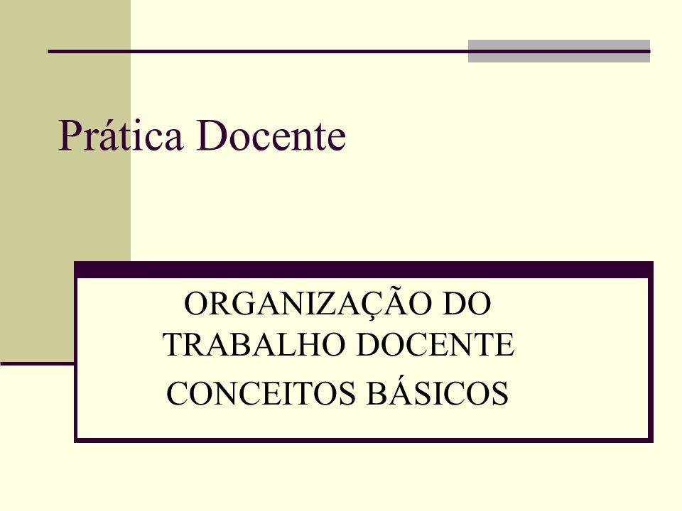 ORGANIZAÇÃO DO TRABALHO DOCENTE CONCEITOS BÁSICOS